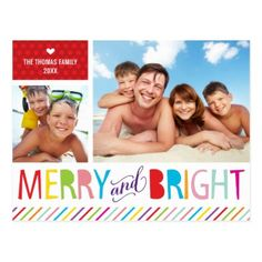 2 PHOTO CHRISTMAS POSTCARD modern merry & bright - Xmas ChristmasEve Christmas Eve Christmas merry xmas family kids gifts holidays Santa