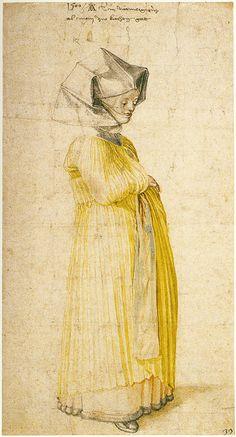 Albrecht Dürer -  Lady of Nuremberg Dressed for Church, 1500. Watercolor.[Brittish Museum of London]