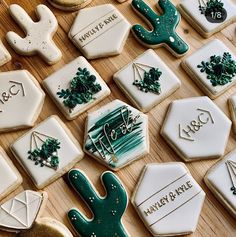 Classy & elegant with a modern succulent twist Love when clients have the same taste in cookies as me makes the designing process a piece of cake! Iced Cookies, Cute Cookies, Royal Icing Cookies, Cupcake Cookies, Sugar Cookies, Cupcakes, Wedding Cookies, Birthday Cookies, Cookie Designs