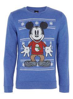 3cc811c4b60d Blue Fairisle Mickey Printed Sweatshirt Chicos Fashion