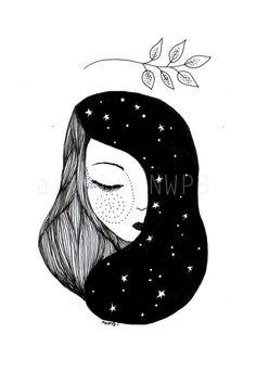 Goddess of the night. Illustration by Toshisworld on Etsy Art And Illustration, Girl Illustrations, Portrait Illustration, Art Sketches, Art Drawings, Tattoo Sketches, Wall Drawing, Portrait Art, Night Portrait
