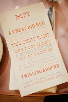 I-Spy Cards for the Disposable cammeras on the wedding tables!!