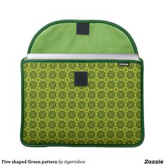 """Rickshaw MacBook Pro sleeve with fresh green pattern decoration and Neon Green interior lining. Made with water resistant fabrics and an ultra-plush padded liner, this sleeve is  perfect to protect your device, without a style sacrifice. Water resistant, extra durable. Ultra-plush, laptop-grade padded liner. Secure velcro flap closure. Available for MacBook Pro 13"""" and MacBook Pro 15"""" on Zazzle $75,95"""