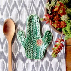 Cactus Succulent Spoon Rest - Jewelry Tray Soap Dish - MADE TO ORDER by BackBayPottery on Etsy https://www.etsy.com/listing/253105325/cactus-succulent-spoon-rest-jewelry-tray