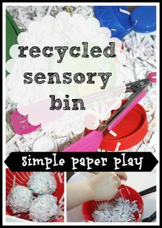 Recycled Paper Sensory Bin Play (from Little Bins for Little Hands)