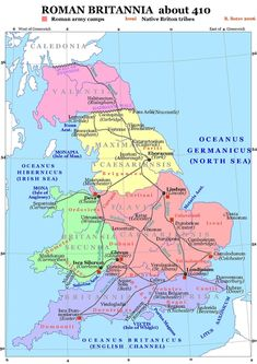 Celtic Tribes in Britain. Roman Britain about the year 410 CE, showing the Brythonic tribes in red. Uk History, Roman History, European History, British History, World History, American History, Map Of Britain, Roman Britain, Ancient Rome
