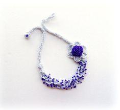 Crochet declaración collar collar de perlas por CraftsbySigita
