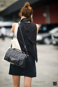 bag, hair bun and dress perfect work wear