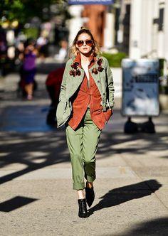 Olivia Palermo wearing a khaki jacket and pants.