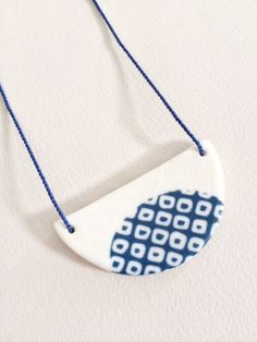 Half Circle Porcelain Pendant with Natural Blue by ByeByeBelle