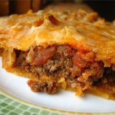 Taco Pie - Allrecipes.com. Quick and easy weekday dinner. You could also toss a can of black beans in with the meat or add a layer of refried beans. The kids will love this.
