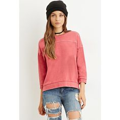 Forever 21 Forever 21 Women's  Paneled Sweatshirt ($18) ❤ liked on Polyvore featuring tops, hoodies, sweatshirts, 3/4 sleeve tops, lightweight sweatshirt, red top, three quarter sleeve tops and sweat tops