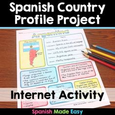 This is a country profile activity over the 21 Spanish-speaking countries. Students will research important geographical and cultural facts about each country. Research topics include: Countries flag, map, capital, language(s), population, area, currency, climate, interesting facts, tourism and attractions, cuisine, sports, and celebrations. #spanishfacts