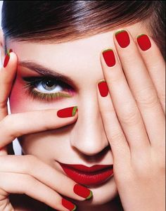 nails - strawberry - red - green tips - fashion - glamour