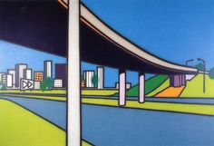 Hand Painted Bridge Building Oil Painting Landscape Canvas Art Picture for Living Room Wall Decor No Framed High Quality Magnum Opus, Artwork Ideas, Cool Artwork, Howard Arkley, Musica Punk, Melbourne, City Scapes, Living Room Pictures, Australian Artists