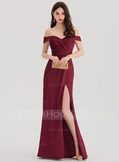 Sheath/Column Off-the-Shoulder Floor-Length Ruffle Split Front Zipper Up Regular Straps Sleeveless No Other Colors Spring Summer Fall General Plus Satin Hight:5.7ft Bust:31in Waist:23in Hips:36in US 2 / UK 6 / EU 32 Prom Dress