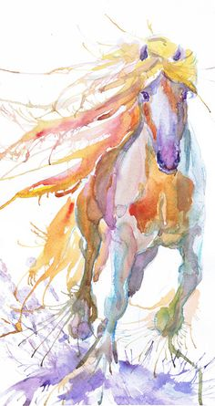 Horse art print abstract horse painting wild horse by ValrArt