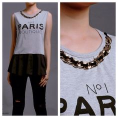 New collection  Paris tee w/ chain neckpin (grey) IDR 205,000