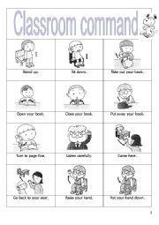 Classroom commands - ESL worksheet by Classroom Commands, First Day Of Class, Classroom Language, Esl, School Supplies, Social Studies, Adobe Illustrator, Worksheets, Teacher