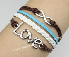 Silvery infinity love bracelet,brown wax rope white woven rope jewelry gift