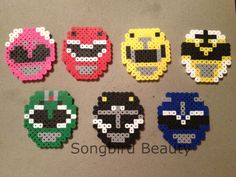 Power Rangers inspired helmets Set of 7 Perler by SongbirdBeauty