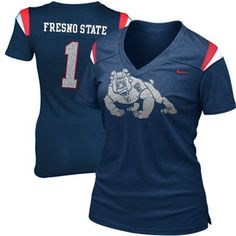 Nike Fresno State Bulldogs Ladies Replica Football Premium T-Shirt - Navy Blue @Fanatics #FanaticsWishList