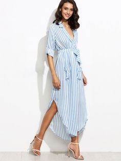 Contrast Vertical Striped Self Tie Shirt Dress