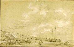 Simon Jacobsz. de Vlieger (ca. 1601-1653). Vissers drogen hun netten op het strand van Scheveningen. (Coll. Art Institute, Chicago).