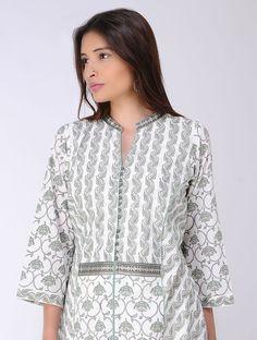 Ivory-Grey Block-printed Cotton Kurta Printed Kurti Designs, Salwar Designs, Kurta Designs Women, Kurti Designs Party Wear, Simple Gown Design, Simple Kurta Designs, Dress Neck Designs, Blouse Designs, Chudidhar Designs