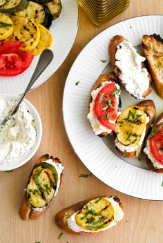 This Grilled Summer Squash and Tomato Crostini is the perfect summer appetizer featuring garden-fresh summer squash, tomatoes, and a Parmesan-herb cream cheese layered on a garlic toasted baguette. #ad