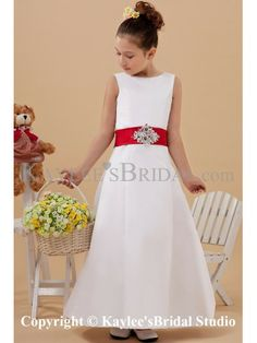 Satin Jewel Neckline Ankle-Length A-Line Flower Girl Dress with Sequins