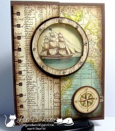 "By Lisa Foster, featuring Stampin' Up! Circle Card Thinlits Die + ""The Open Sea"" and ""World Map"" stamp sets ..."
