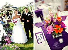 A gazebo wedding with purple accents?! Perfect! I love the purple!