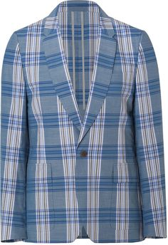 $630, Paul Smith Ps By Bluewhite Plaid Cotton Blazer. Sold by STYLEBOP.com. Click for more info: https://lookastic.com/men/shop_items/34553/redirect