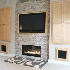 Whopper TV over small modern fireplace. Tv Over Fireplace Design, Pictures, Remodel, Decor and Ideas - page 2