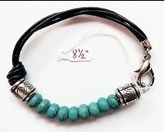 Men's Striking Turquoise Bead and Leather Bracelet at KnotPerfectJewelry.com
