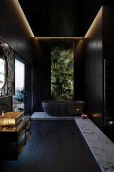 Wooden bathroom design // cgi visualization by George Turmanidze. Visualization done in Blender Home Room Design, Home Interior Design, Interior Decorating, House Design, Design Exterior, Wooden Bathroom, Bathroom Design Luxury, 3d Models, Dark Interiors