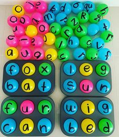 cvc/spelling activity (plastic balls & muffin tray)