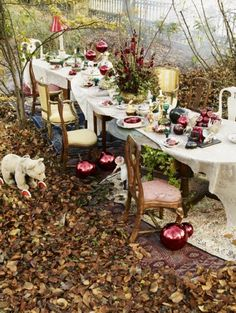 [Whimsical Fall Garden Party] LOVE the different tables lined side by side! -clcv