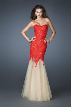 Sweetheart Red Lace/Tulle Mermaid Pageant Dresses Evening Party Prom Dress