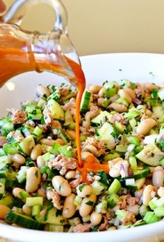 TUNA, CANNELLINI, CELERY, CUCUMBER, PARSLEY & CAPER SALAD with ROASTED ...