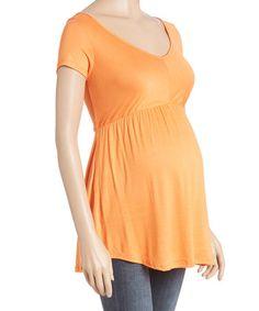 Orange Open-Back Maternity V-Neck Top #zulily #zulilyfinds