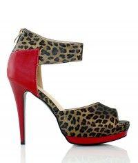 Shoes www.shoeenvy.com.au Morocco - Women's red and black leopard print sandal high heels $129