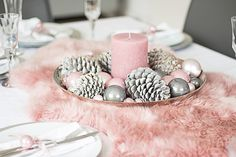 A sheepskin in beautiful old pink does not land on the floor, but on the covered Christmas table. Pink Christmas Decorations, Table Decorations, Winter Christmas, Xmas, Christmas Feeling, Flower Oil, Tis The Season, Blush Pink, Christmas Stockings