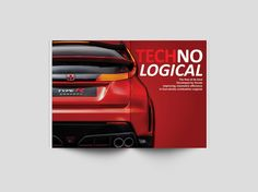 An editorial design, the topic, Honda's VTEC engine, then and now.