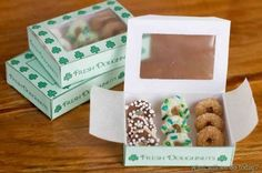 Leprechaun-size donuts from Cheerios as leprechaun bait—with printable donut box! Also ideas to lead your kids to believe you've been invaded by leprechauns (green toilet water and little footprints :)