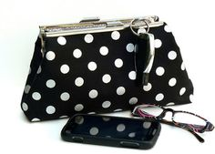Framed Clutch Purse Polka Dots Black Silver by nangatesdesigns