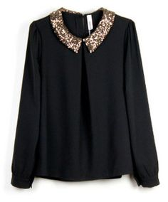 black chiffon blouse with an embellished collar.. very cute