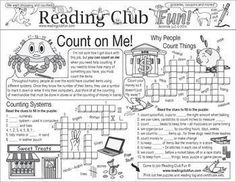 COUNTING (NUMBERS AND MEASURES) Teach about counting! -- Counting systems, why people count things, things we like to count, and counting-related expressions with this activity page!
