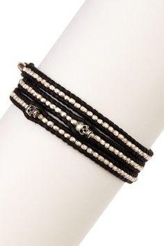 Chan Luu Skull Nugget Leather Wrap Bracelet